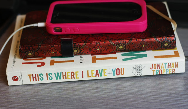travel essentials: iphone, notebook, This Is Where I Leave You book