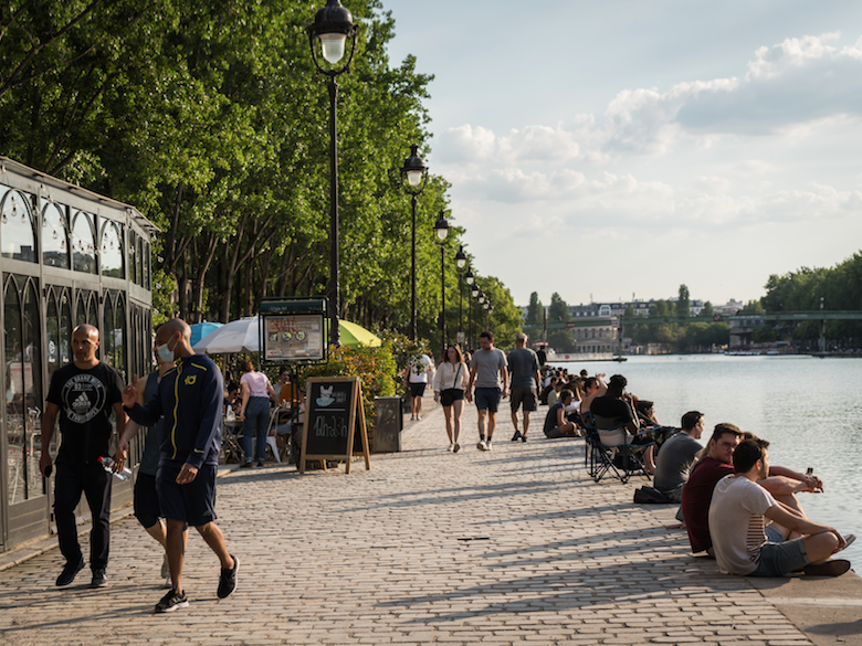 Pandemic of the Bassin de la Villette Paris June 2